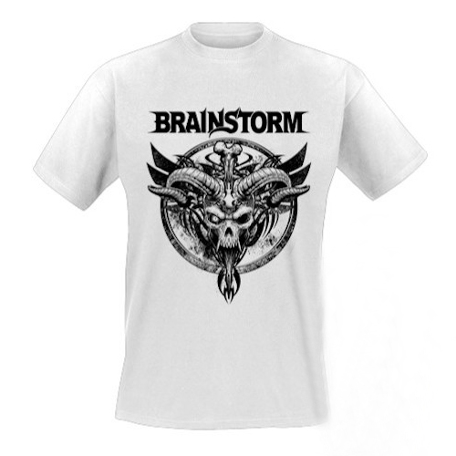 BRAINSTORM - T-Shirt - Horned Skull (white)
