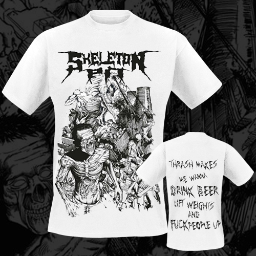 SKELETON PIT - T-Shirt - Chaos White (Black Logo)